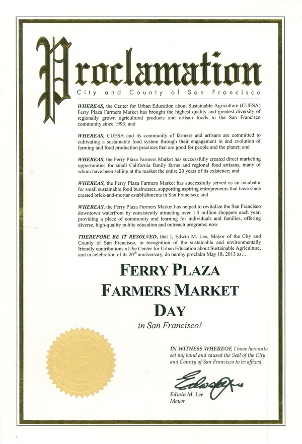 proclamations of ferry plaza farmers market day